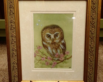 Saw Whet Owl Signed Print with personalization in an 8x10 Decorative Gold Frame