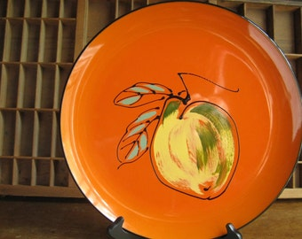 Mid Century Lacquer Tray Round Orange Serving Tray with Peach by Davar