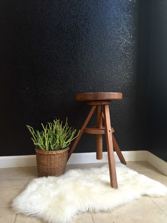 Adjustable Wood Stool Wooden Plant Stand Chair