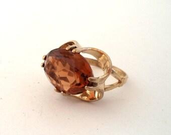 Large Gold Filled Cocktail Ring Dark Citrine or Brown Glass Gem 10K GF