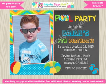 Pool party invitation invite boy pool party birthday invitation pool party photo picture chalkboard swimming party printable DIY