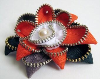 Rust & Brown Flower Zipper Brooch Pin