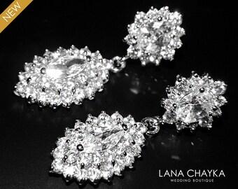 Marquise Cubic Zirconia Earrings Bridal Luxe Clear CZ Earrings Wedding CZ Post Earring Statement Earrings Bridal Jewelry Free US Shipping