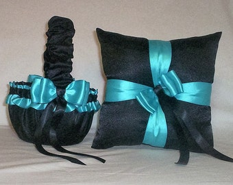 Black Satin With Turquoise  Blue Ribbon Trim  Flower Girl Basket And Ring Bearer Pillow  Set   4