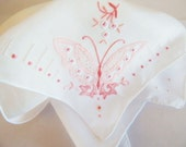 RESERVED FOR VALERIE Custom Embroidered Wedding Handkerchief, Bridal Hankie, Pink Butterfly Handkerchief