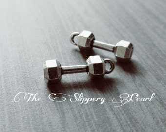 Barbell Charms Workout Charms Weight Lifting Charm Dumbbell Charms Exercise Charms Body Builder Charms Gym Charms 10 pieces