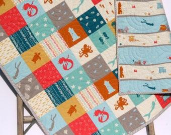 Quilt, Organic Baby, Unisex Boy Girl Blanket, Beyond the Sea, Ocean Nautical, Diving Beach Mermaid, Reversible Toddler Bed Quilt, Nursery
