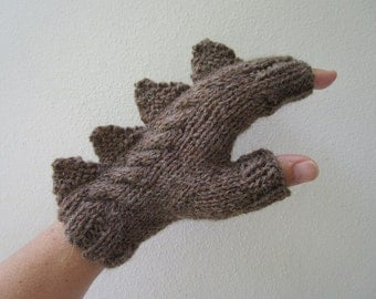 Dragon, dinosaur, monster rich hazelnut brown fingerless mittens gloves, wool and alpaca,medium female adult's size