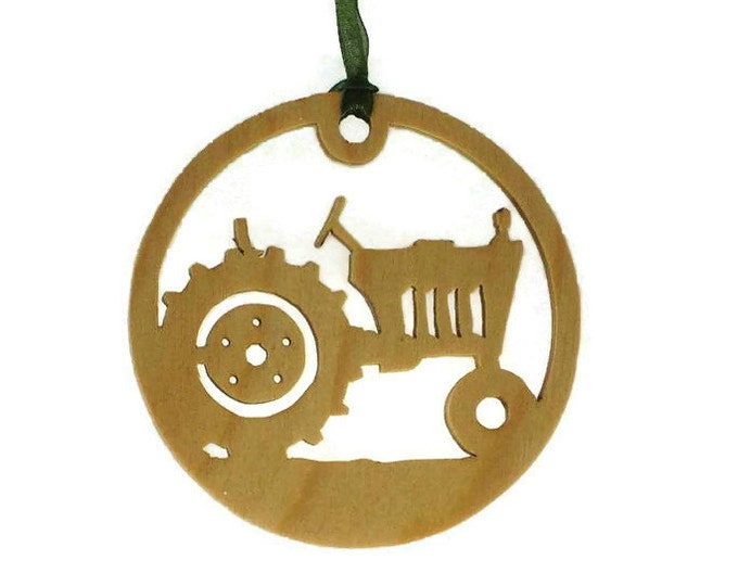 Farm Tractor Christmas Ornament Handmade From Birch Wood