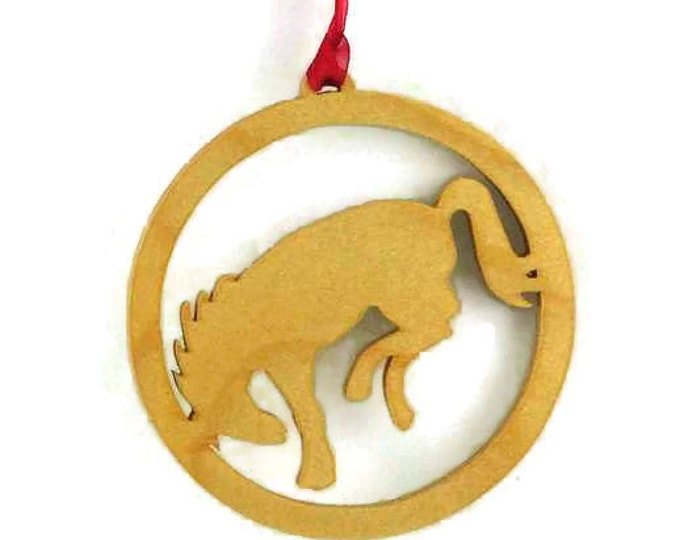 Bucking Bronco Christmas Tree Ornament Handcrafted from Birch Wood