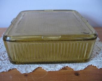 Vintage 1940s Refrigerator Dish Amber Federal Glass