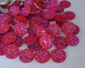 Druzy Resin Sparkly Glitter, Cabochons, Flat Back Round, AB Hot Pink Color.