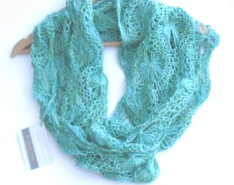 Flowery infinity scarf Woodland Glade , hand knit cowl scarf , long delicate lace cowl , blue green , 6' long , gift for her , mothers day