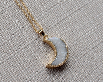 Gift For Her, Moon Pendant, Druzy Necklace, Daughter Gift, Crystal Jewelry, Girlfriend Jewelry, Crescent Necklace, Bridesmaid Gift
