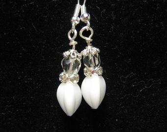 Wedding Earrings, Bridal Earrings, Vintage Drop Earrings, Reclaimed, White, Silver, Milk Glass, Pierced, Dangle, Jennifer Jones, OOAK  - Joy