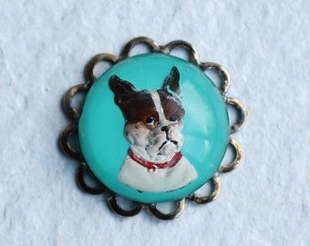 Dog Brooch Pin  ... Terrier Pin Badge Vintage Glass Turquoise