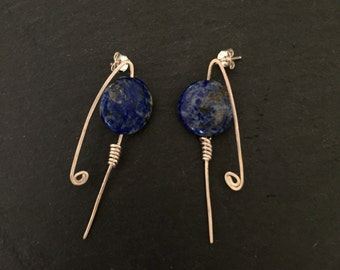 Blue post earrings, Blue Studs, Stud earrings, Lapis Earrings