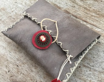 Handmade envelope purse, Grey leather purse, Red button clutch,Leather wallet,Bags cigarette case wallet,Wirstlet leather pouch,Purse insert
