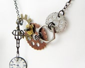 CIJ SALE clock face mixed metal and resin necklace, steampunk lite, asymetrical necklace