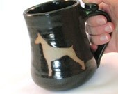Dog Coffee Cup - Doberman Mug - Pet Mug - Handmade Pottery - Pottersong - Pet Silhouette - Silhouette Art - Dark Walnut Brown