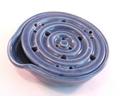 Blue Soap Dish - Drain Tray - One Piece Soap Dish - for Kitchen or Bath - Handmade Pottery -  Pottersong Pottery - Denim Jeans Blue