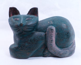 Wooden Cat Carved Statue Vintage 80s