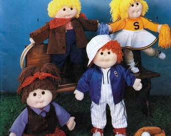"""Simplicity 7068 Vintage 80s Craft Sewing Pattern - Wardrobe for 18"""" Dolls Precious Pals and Cabbage Patch Kids - Uncut"""