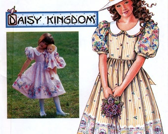 """Simplicity 7005 Daisy Kingdom Sewing Pattern for Child's Dress and Doll Clothes for 17"""" Doll - Uncut - Size 3, 4, 5, 6"""