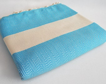SALE 30 OFF/ Herringbone Blanket / Blue / Double Size / Bedcover, Beach blanket, Sofa throw, Traditional, Tablecloth