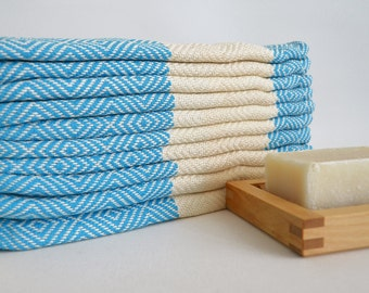 SALE 50 OFF/ 2 Towels / Head and Hand Towel / Diamond Style / Blue
