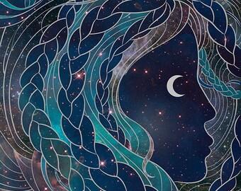 Outer Space Wall Art, Galaxy Art Print, Moon Goddess Fantasy Illustration, Carina Nebula