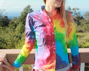 Tie Dye Ladies XS Button Up Shirt upcycled