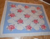 Vintage Tablecloth, roses roses roses, blue and white background, heavy cottonn, 45 x 54, feels like Wilendur, cottage, country, shabby