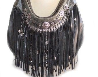 Black | Leather | Fringe | Boho | Bag | Designer | Purse | Custom