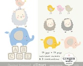 Baby animals clipart, bird clip art, lamb clipart, elephant clipart, commercial use  (CA281)