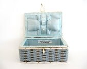 Vintage Sewing Basket Singer Small Childrens Kids Gray Grey Blue Woven Made In Japan Craft Storage