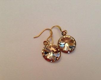Champagne Gold Swarovski Rivoli Gold Drop Earrings