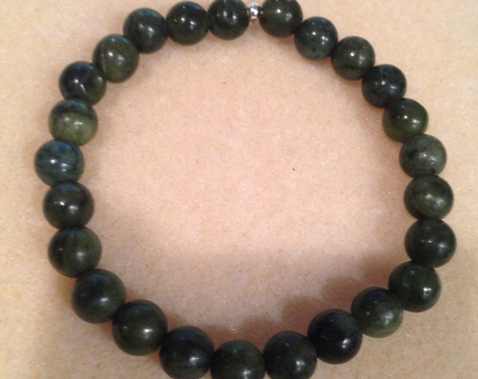 Serpentine 8mm Round Stretch Bead Bracelet with Sterling Silver Accent