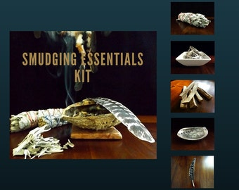 Smudge Kit - House Smudging Essentials Kit, loose white sage, palo santo sticks, sage bundle, abalone shell, house blessing, incense