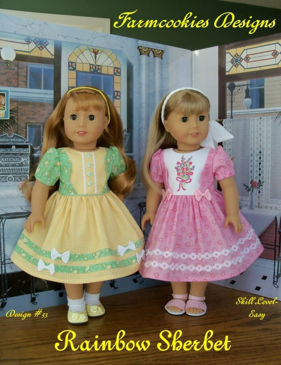 "PDF Sewing Pattern with Optional Embroidery for American Girl ® Doll / RAINBOW SHERBET /  Sewing Pattern for 18"" Dolls"