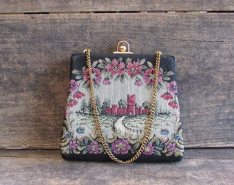 Vintage 1950s Tapestry Castle Handbag   Tapestry Purse with Chain Handle