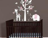 Mini Jungle Decal sticker, Elephant Wall Decal, Giraffe decal, Nursery Decal, Monkey wall decal, Pink Gray Chevron, polka dots, White Tree