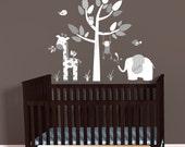 Mini Jungle Decal sticker, Elephant Wall Decal, Giraffe decal, Monkey wall decal, Gray Chevron Theme, polka dots nursery, White Tree