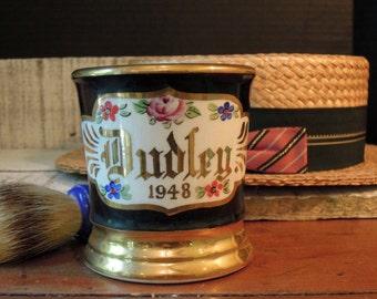 Vintage Shaving Mug  and Brush / Ceramic Shaving Mug / 1948 / Vintage Made Rite Shaving Brush with Pure Natural Bristles