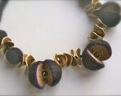 Felt necklace- Black necklace with brass  - Handmade- OOAK- Woool beads necklace