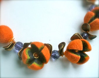 Felted necklace- Orange necklace with brass and  beads - Handmade- OOAK- Felt necklace with beads Felted orange necklace with coral