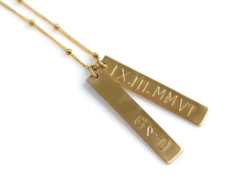 Roman Numeral Necklace, Personalized 1 2 3 4 Vertical Bar Necklace, Custom Gold Bar Name Necklace, Mothers Jewelry, Gold or Sterling Silver