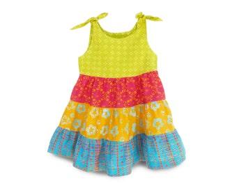 Girls Summer Dress, Batik Girls Dress, Summer Batik Dress, Girls Peasant Dress, Batik Cotton Dress