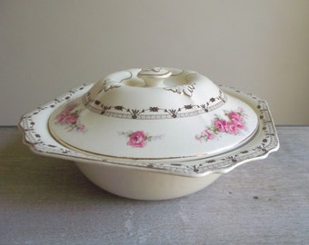 Covered Serving Dish by Thomas Hughes in Coronation Rose Pattern 4857 / 1930s Serving Bowl with Lid / Lidded Serving Dish / Cottage Chic