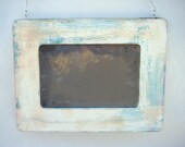 New! Rustic Primitive Antiqued Accent Mirror Blue Green Ivory Handmade Boho Country Home Decor Wall